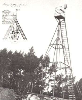Den ursprungliga ritningen på lotsutkiken på Sandhamn med Unionsflaggan. Det gällde ju att komma så högt upp som möjligt för att i tid se annalkande skepp och för att kunna skicka ut lotsen att möta
