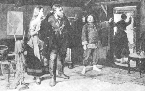 """Att vara lots under den vackra årstiden är inte alltid så påfrestande. Värre var det vintertid när stormar ,tjocka och snöyra gjorde liver svårt. Här har konstnären Gillis Hafström 1883 i målningen """"nödskottet"""" fångat stämningen på Landsorts lotsplats när mästerlotsen rycks från stugans trevnad av ett skott från ett fartyg i nöd. Tavlan finns på Nordiska museét."""