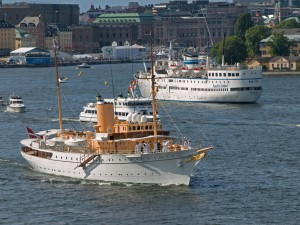 Royal Danish ship the Dannebrog leaving Stockholm