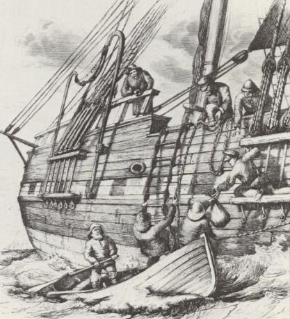 """""""Lots ombord"""" träsnittstryck från en teckning av BA Wikström daterad ca 1870. I det hårda väderet var det ofta mycket äventyrligt att sig ombord."""